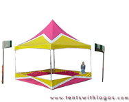 20 x 20 High Peak Tent - Pink, White and Yellow